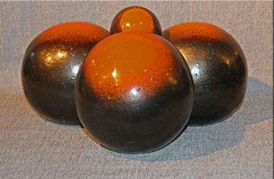 8 inch orange and dark brown fireball