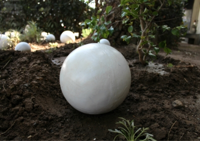 8 painted white lawn art ball 1